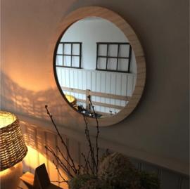 Spiegel rond met blankhouten rand