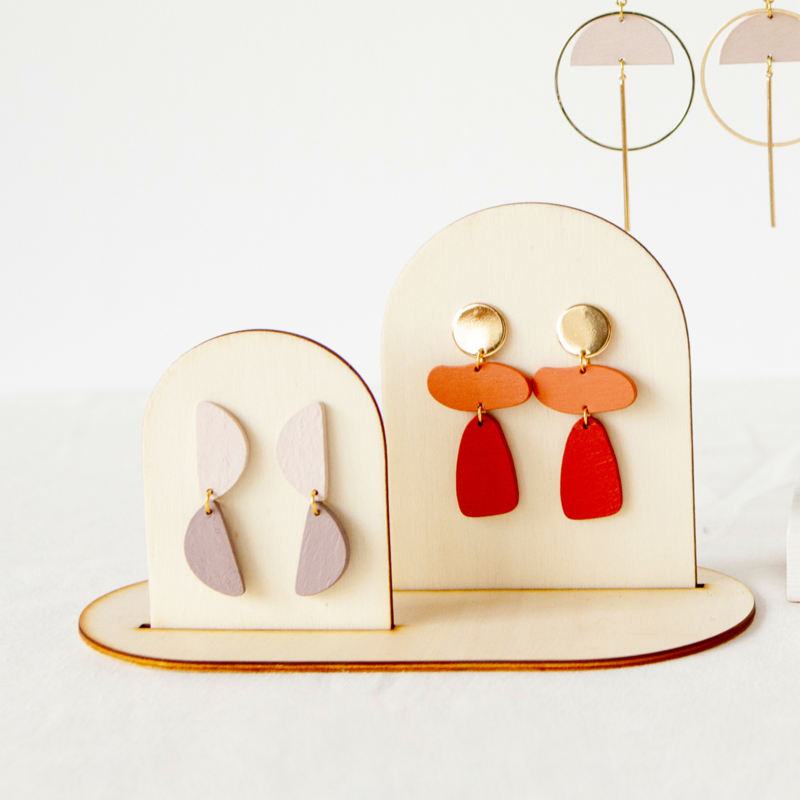 wooden display earring S