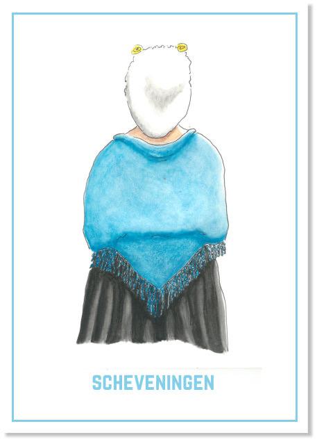 Vrouw in Scheveningse dracht   A4 Poster   Per 3 stuks