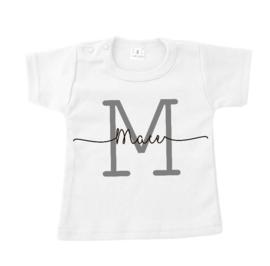 T-shirt met letter en naam wit