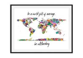 Wereldkaart in kleuren met tekst - Versie 2 poster