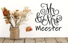 Mr & Mrs wandsticker - Achternaam bruidspaar