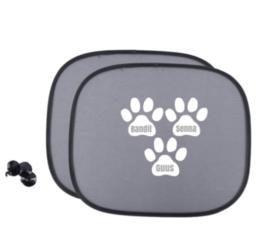 Zonnescherm met namen in hondenpoten - Autoaccessoire