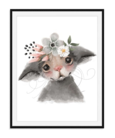 Muisje met bloemen poster