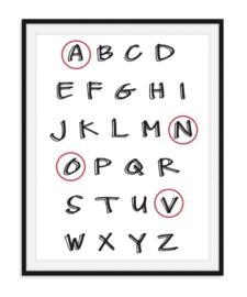 Alfabet met naam omcirkeld in kleur - Poster