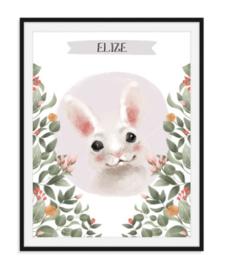 Lief konijntje met naam naar keuze - poster