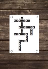 Tuinposter Scrabble met eigen namen - Diverse formaten
