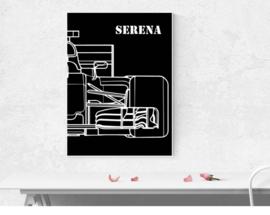 F1 auto half - met naam in wit