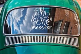 Mr & Mrs met achternaam - Autosticker