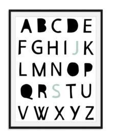 Alfabet poster met gekleurde initialen - Poster