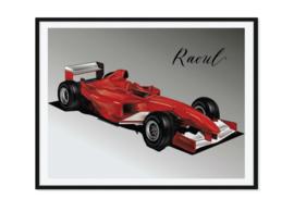 Formule 1 auto met naam - Poster