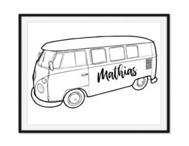 VW busje poster met eigen naam