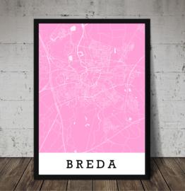 Plattegrond Stad / dorp met roze achtergrond
