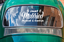 Just married met namen - Autosticker