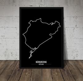 Nürburgring Poster - Minimalistisch zwart