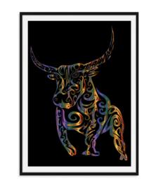 Stoere stier - Poster kleur