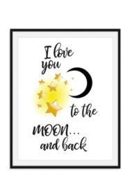 Babyposter I love you to the moon and back - Kraamkado
