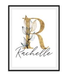 Letter met naam in bloemenstijl - Poster