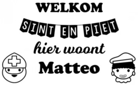 Hier woont Raamsticker Sint en Piet