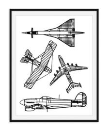 Serie vliegtuigen poster