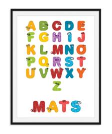 Diertjes alfabet poster - Met naam