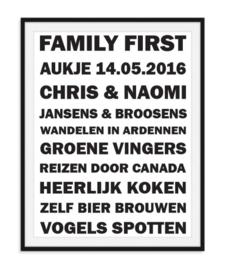 Familie poster - Met 10 eigen teksten