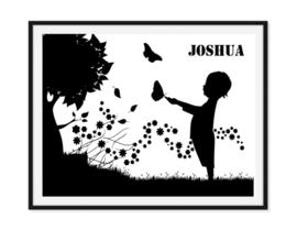 Kindje in bloemenweide - Poster