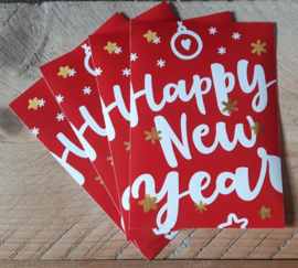 Kerstkaart Happy New Year, set van 4