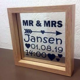 Bruidspaar fotolijst met opdruk op glas