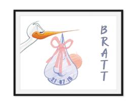 Ooievaar met naam en geboortedatum - Geboorte poster