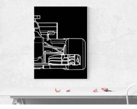 F1 auto half - zwart wit poster