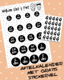 Aftelkalender Sinterklaas - Gratis stickervel