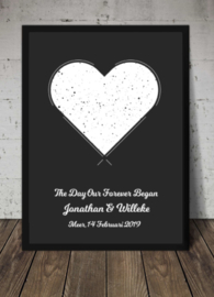 Sterrenposter wit hart en zwart kader - eigen tekst
