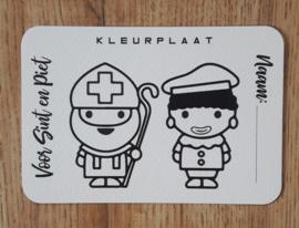 Sint en Piet kleurplaat - Wenskaart