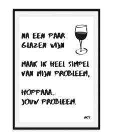 Na een paar glazen wijn - Tekstposter