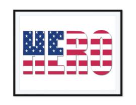 Hero met Amerikaanse vlag - Poster