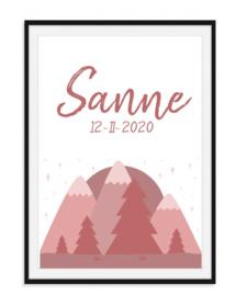 Geboorteposter bergen met naam - 4 kleuren