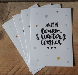 Kerstkaart Warm Winter Wishes, set van 4