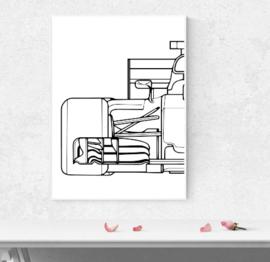 F1 auto half - wit zwart poster