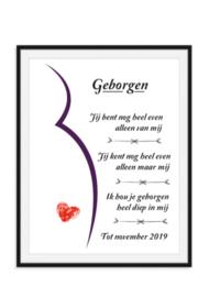 Geborgen zwangerschap poster met uitgerekende datum