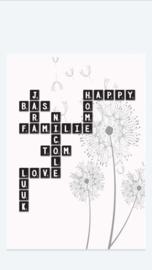 Scrabble poster met eigen namen - met achtergrond