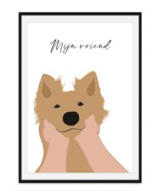 Mijn vriend - met naam en kleur van hond naar keuze