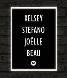 Namen op zwart - Poster met hart
