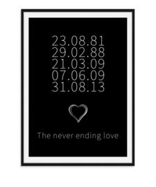 The never ending love - Poster zwarte achtergrond