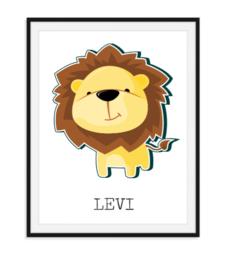 Vrolijke leeuw met naam - Poster