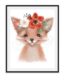Vosje met bloemen poster