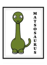 Dino poster met naam in dino stijl - kleur