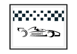Racewagen met naam op sidepod - poster