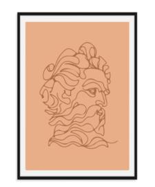 Koning lijntekening - Poster