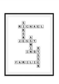 Familie poster zwart wit gepersonaliseerd - Uniek housewarmingkado